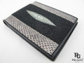 Genuine Stingray & Masked Water Snake Skin Combination Wallet Black [MXUS001A3X003]