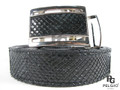 "Genuine Python Skin Money Back Belt 46"" Long Black [8859322418794]"