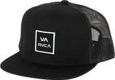 The RVCA VA All The Way II Trucker is an adjustable trucker hat with wool front and nylon mesh back and VA stacked logo patch at front.      80% acrylic, 20% wool front with 100% nylon mesh back
