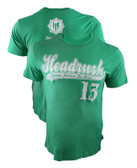 Headrush Baseball Script GREEN Shirt