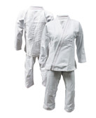 Womens White BJJ Diamond Weave Gi w/ Pink Stitching