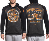 American Fighter Wyoming L/S Raglan Hoodie BLACK MASS