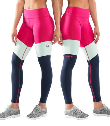 Virus Women's Stay Cool Tri-Color Compression Pant (ECO41) RASPBERRY/Navy