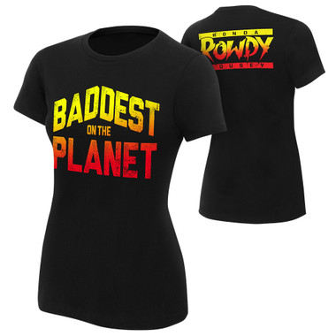 """WWE Ronda Rousey """"Baddest On The Planet"""" Authentic Womens T-Shirt"""