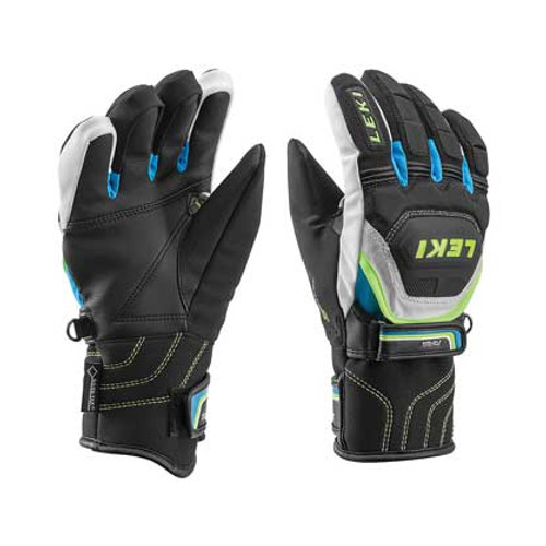 Leki World Cup Coach Flex S GTX Jr Gloves - Black/Cyan