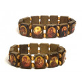 Bracelet, Wooden Rect. Links with Oval Icons