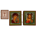 Icon Diptych - Virgin of Kazan and Christ, 3X5.25