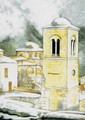 PK-C12N Winter Scene Note Cards: Hosios Loukas Monastery