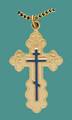 """Cross SS/GP w/stainless/GP 18"""" chain, med. St Olga style w/blue enml - engr"""