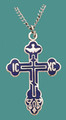 "Cross SS w/18"" stainless steel chain, w/blue enamel, engraved"