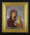 Icon - Virgin of Kazan, Framed with Crystals