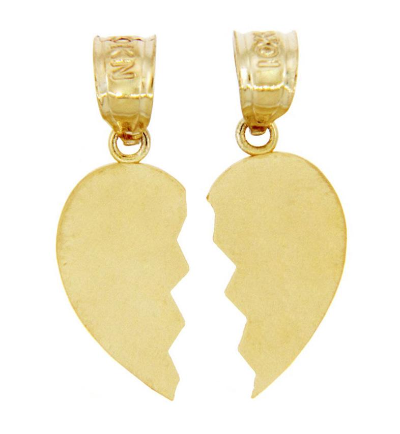 Broken Heart Pendant Couples Gold Broken Heart Pendant