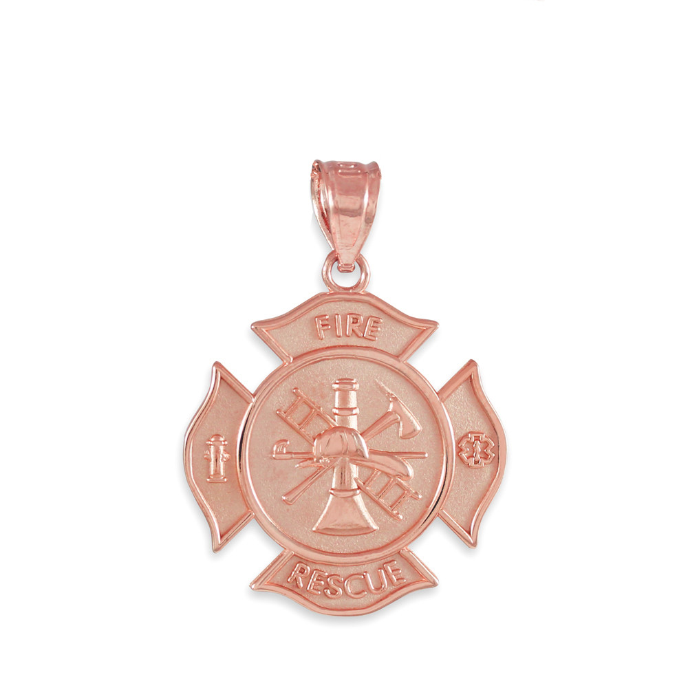 gold rescue firefighter solid badge pendant necklace