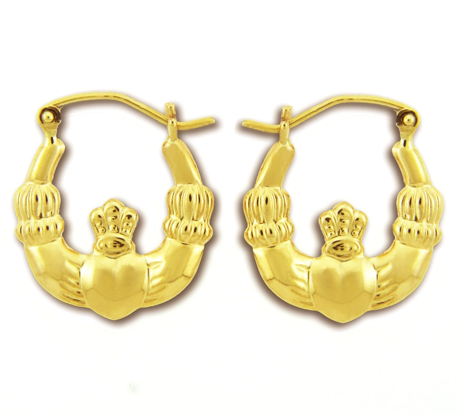 Myriam's Boutique 14KT Polished Gold Claddagh Earring