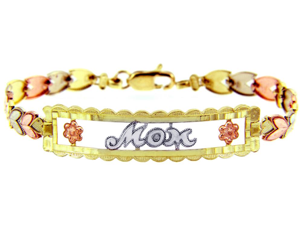 Myriam's Boutique Tri-Color Gold Bracelet - The MOM Diamond Cut Bracelet
