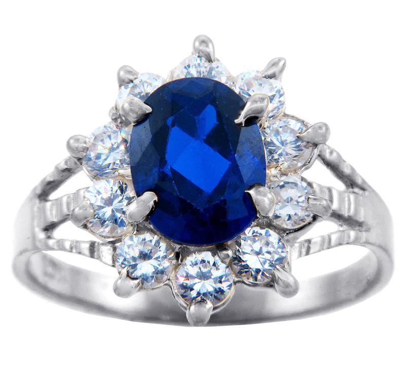 princess diana light blue sapphire cz white gold ring
