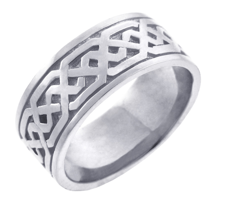 White Gold Celtic Knot Mens Wedding Ring Band