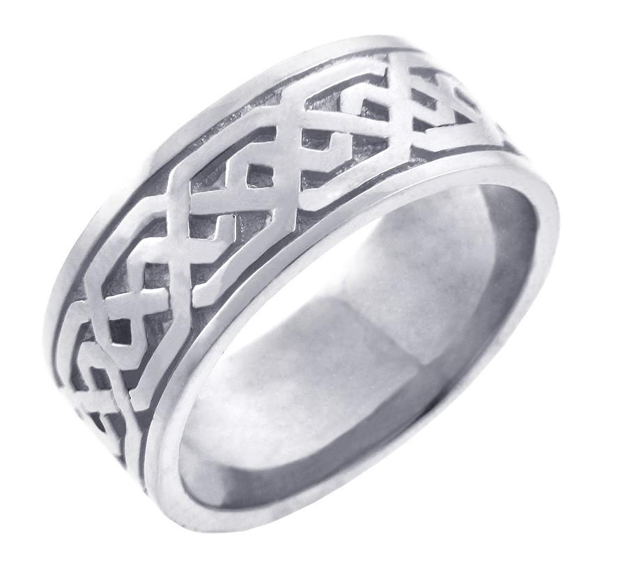 White Gold Celtic Knot Mens Wedding Ring Band