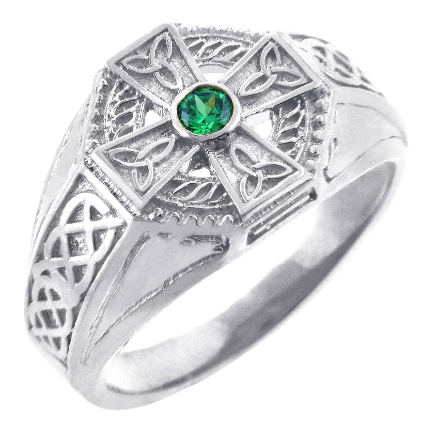 Men's 925 Sterling Silver Celtic Cross Ring with Emerald Center and ...