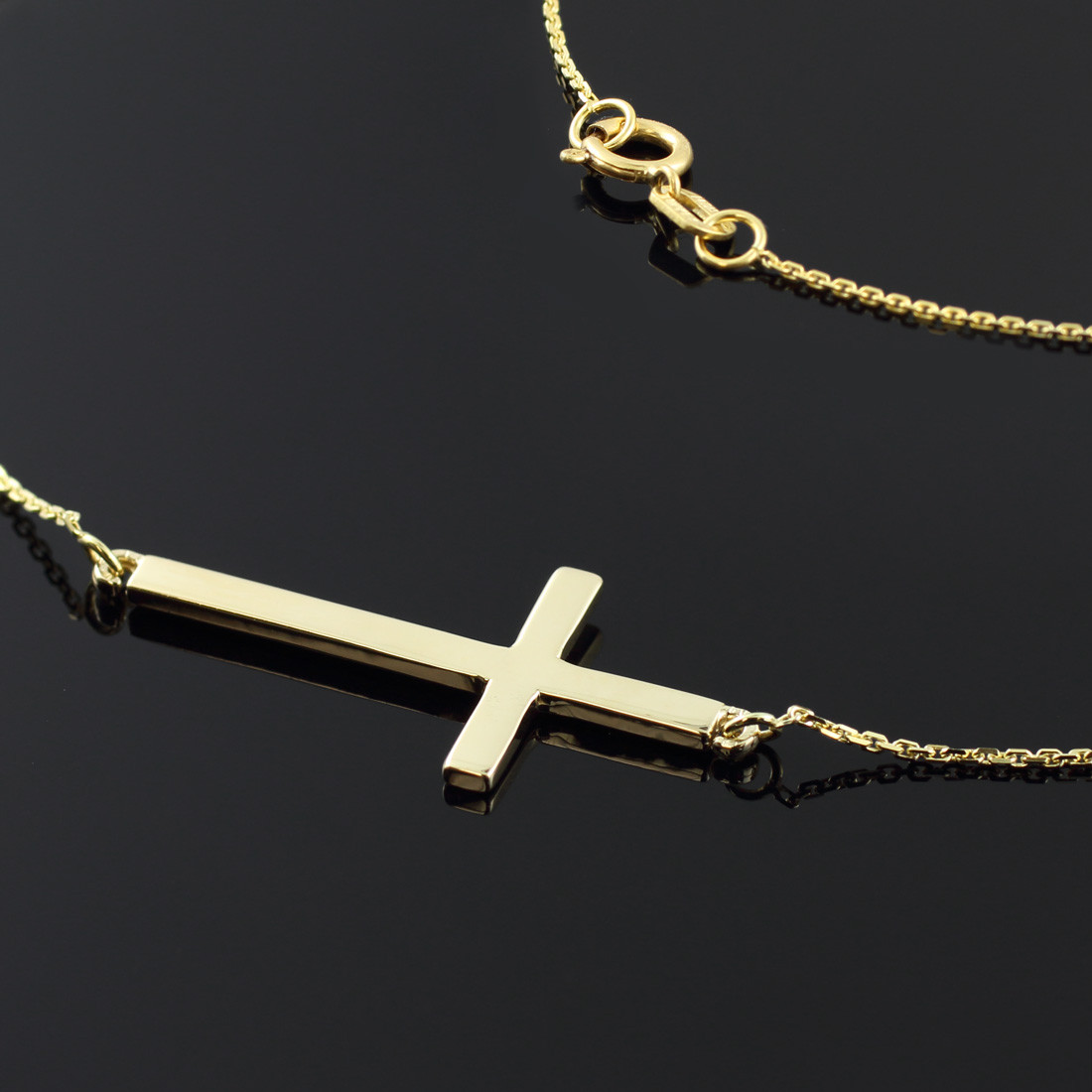 Factory Direct Jewelry 14k Solid Gold Sideways Cross Necklace with 16 Inch Chain