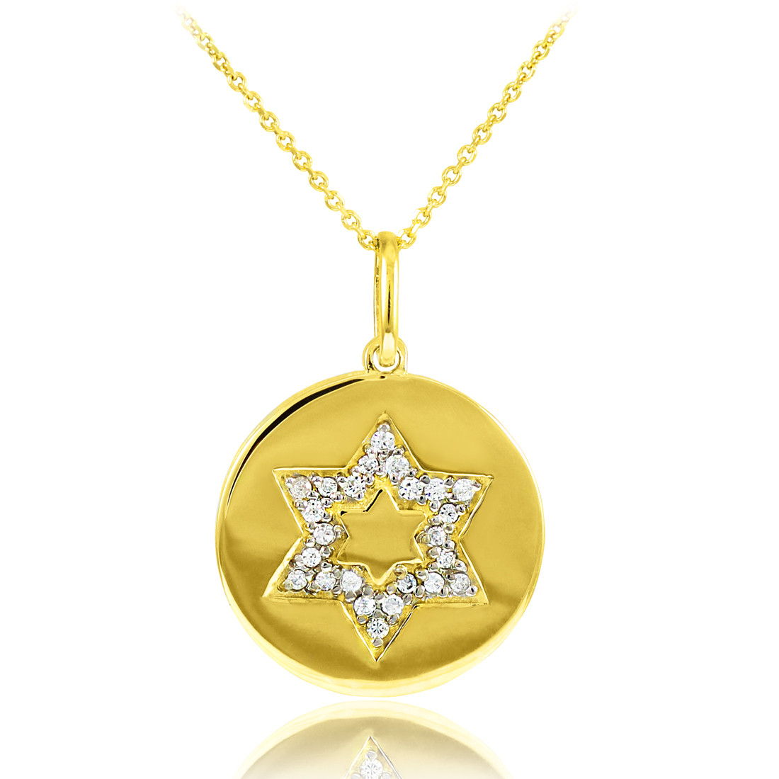 14k polished gold medallion star of david diamond pendant for What is gold polished jewelry
