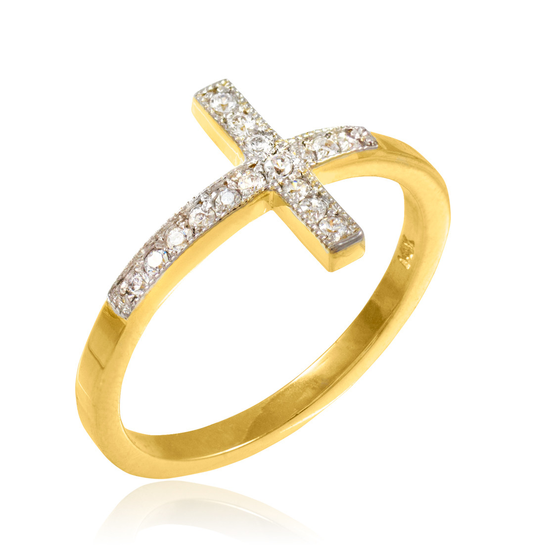 gold pave sideways cross ring