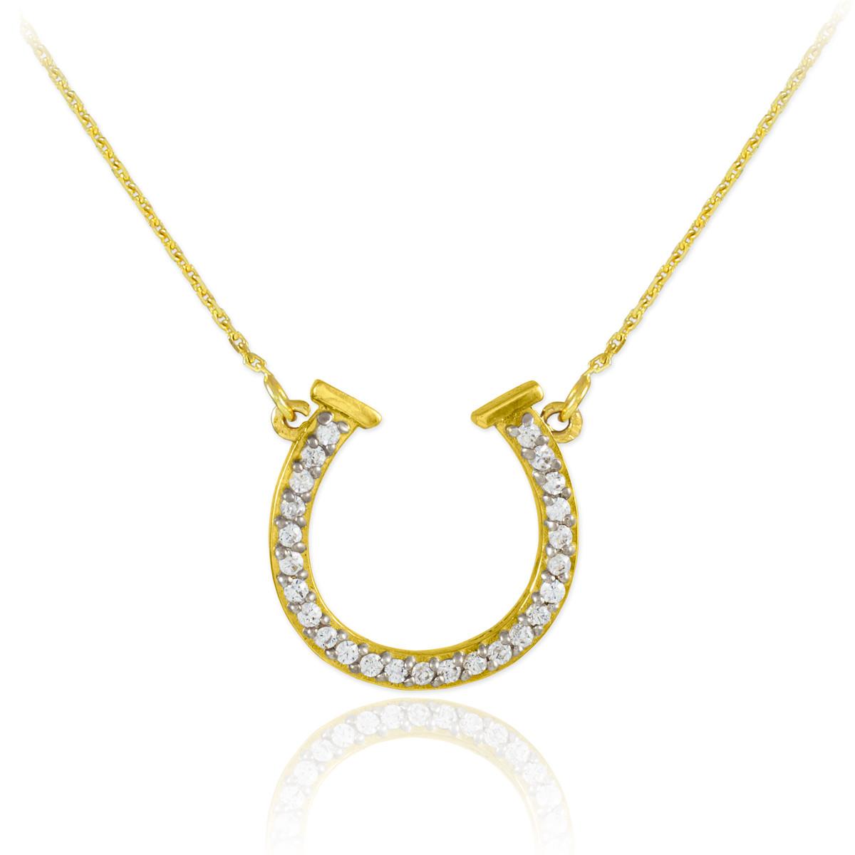 14k gold cz horseshoe necklace