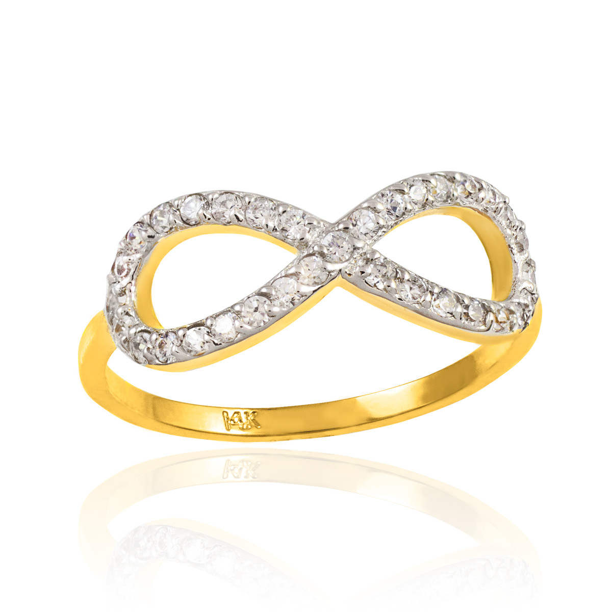 gold infinity ring yellow white made in usa