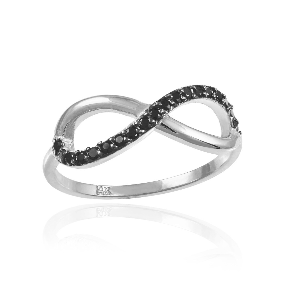 white gold infinity ring with black diamonds