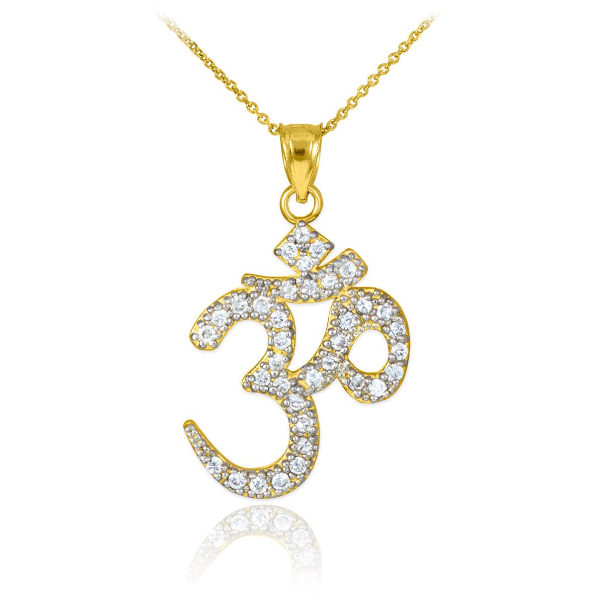 gold om ohm cz pendant necklace ebay
