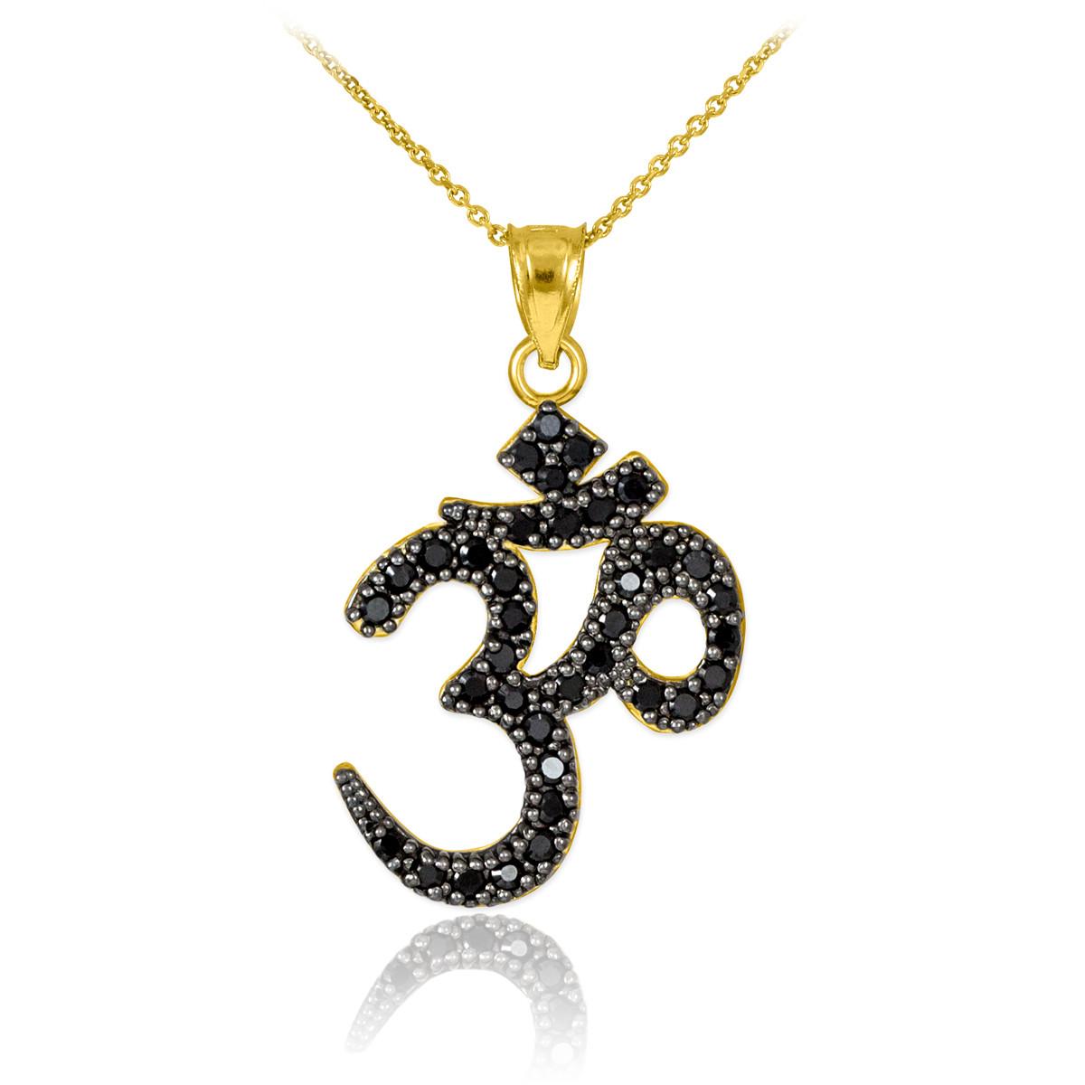 14k gold om black pendant necklace