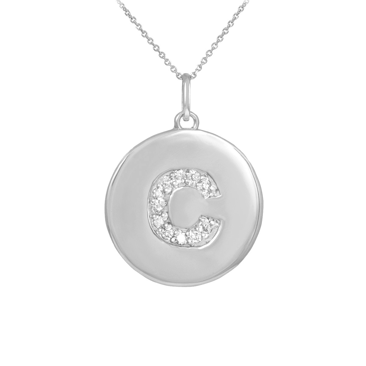 10k white gold letter c initial diamond disc charm pendant letter c disc pendant necklace with diamonds in 10k or 14k white aloadofball Images