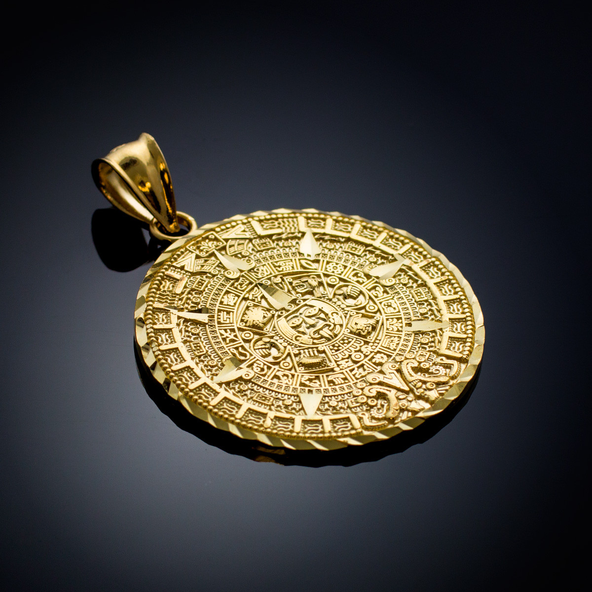 gold aztec mayan mexico sun calendar pendant 3 sizes