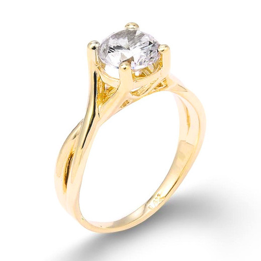 or 14k yellow gold infinity band round solitaire cz engagement ring