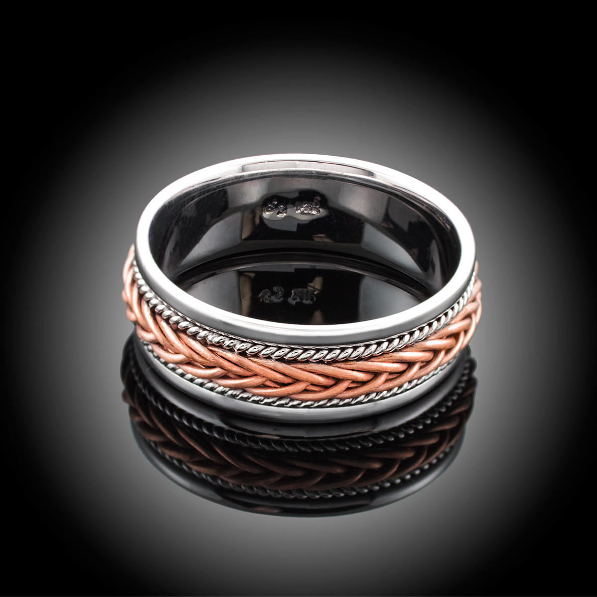 14K Two Tone White Gold Mens Fancy Hand Braided Rose Gold 8MM Wedding Band