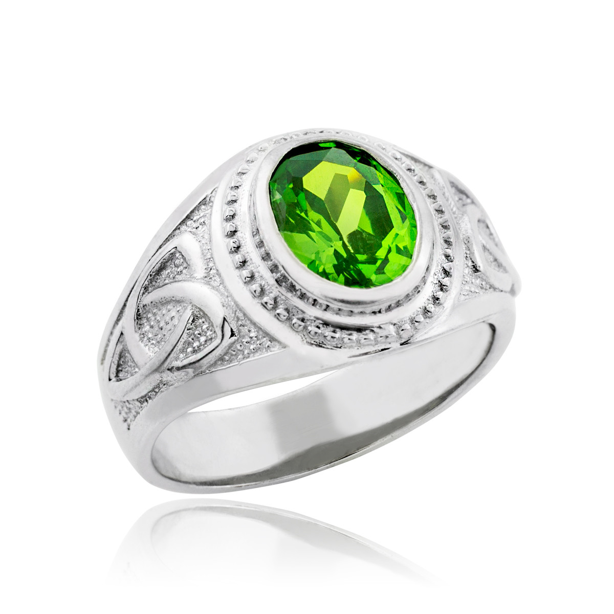 white gold celtic emerald green oval cz s ring