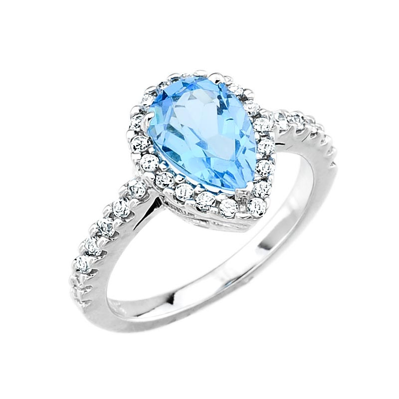 white gold blue topaz and engagement ring