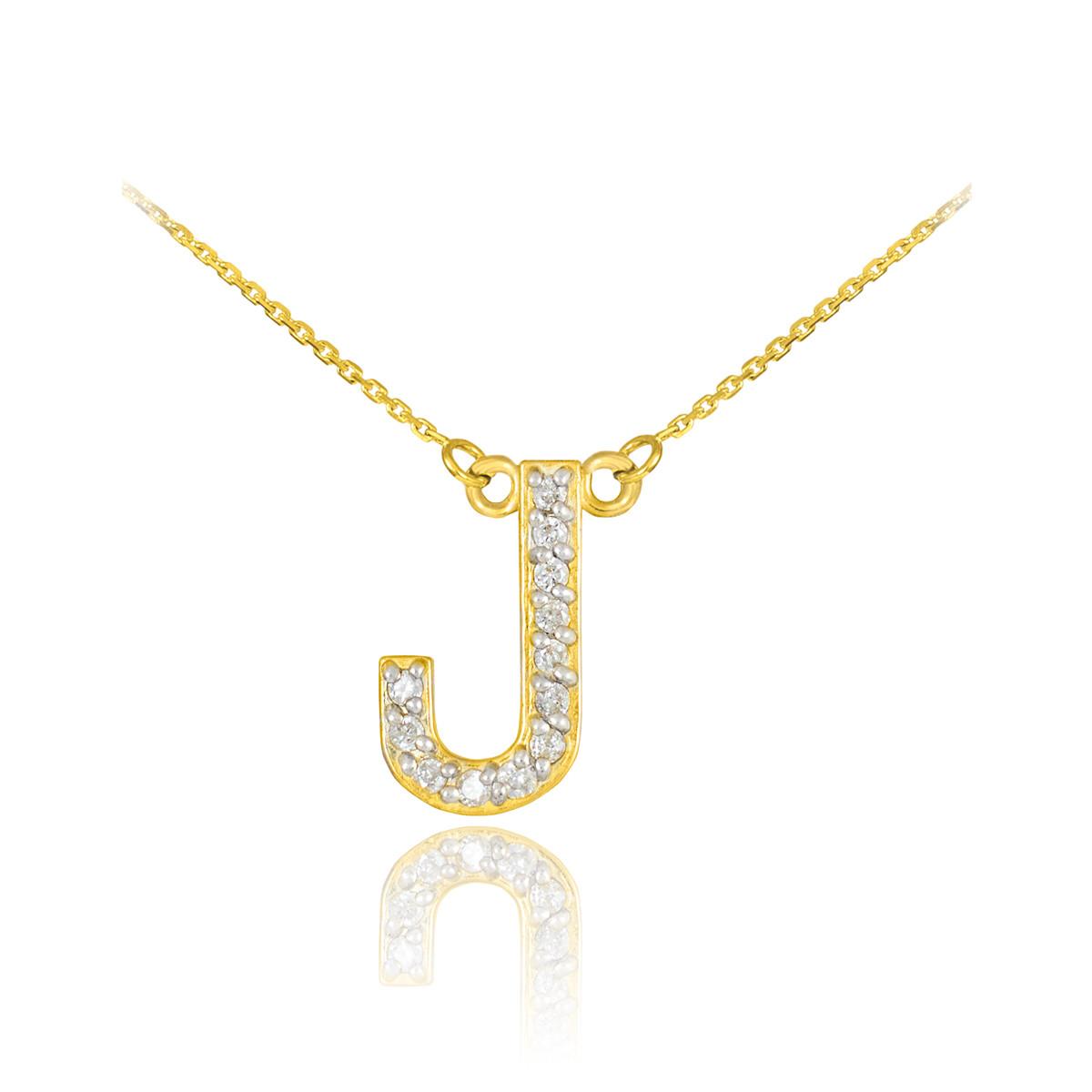 14k gold letter quot j quot initial necklace