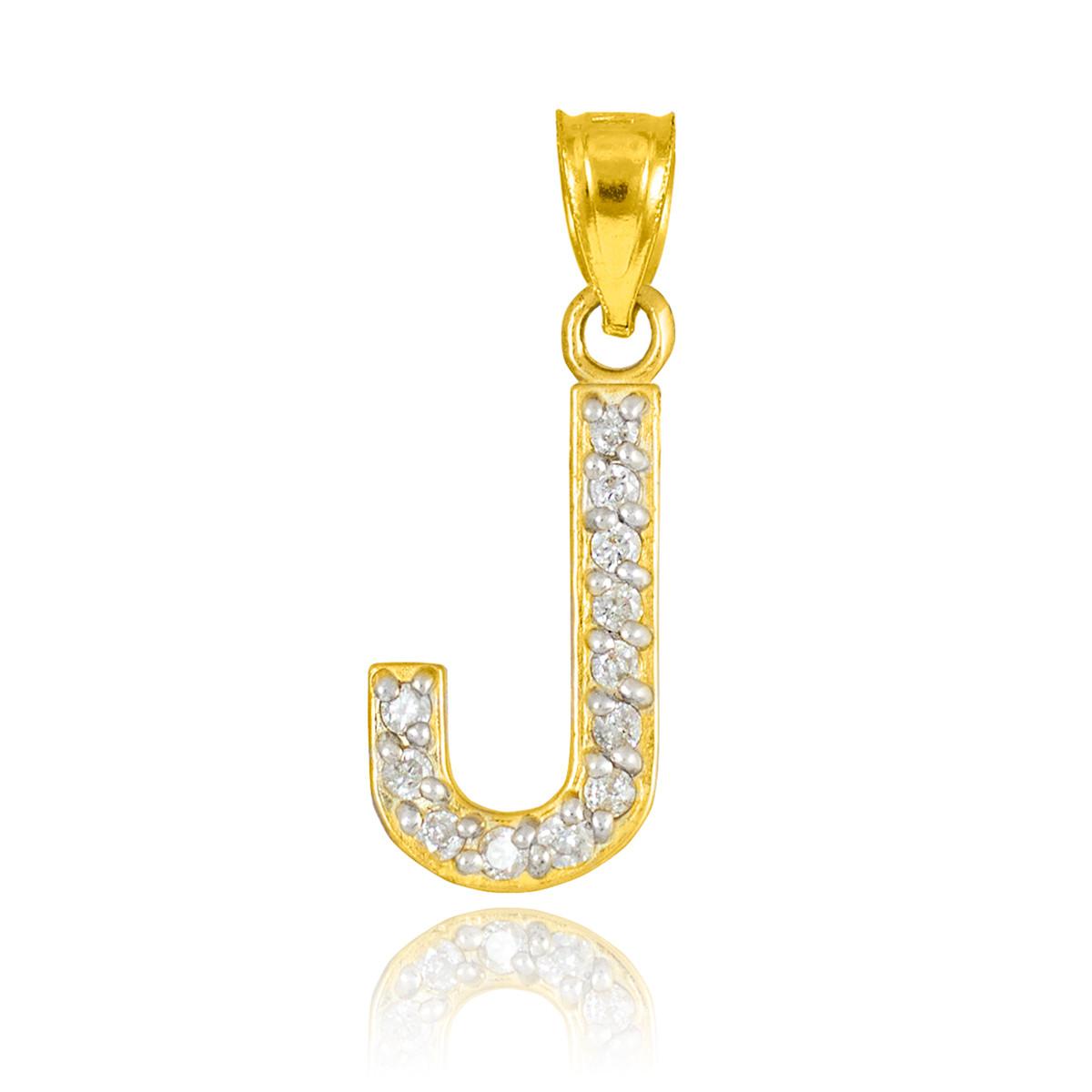 10k letter quotjquot initial gold pendant necklace with diamonds With gold letter j pendant