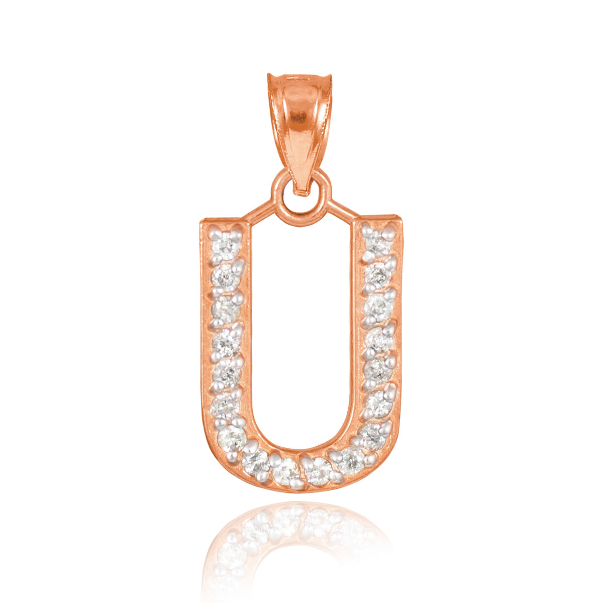 10k rose gold alphabet letter quotuquot initial pendant necklace for Rose gold letter charms