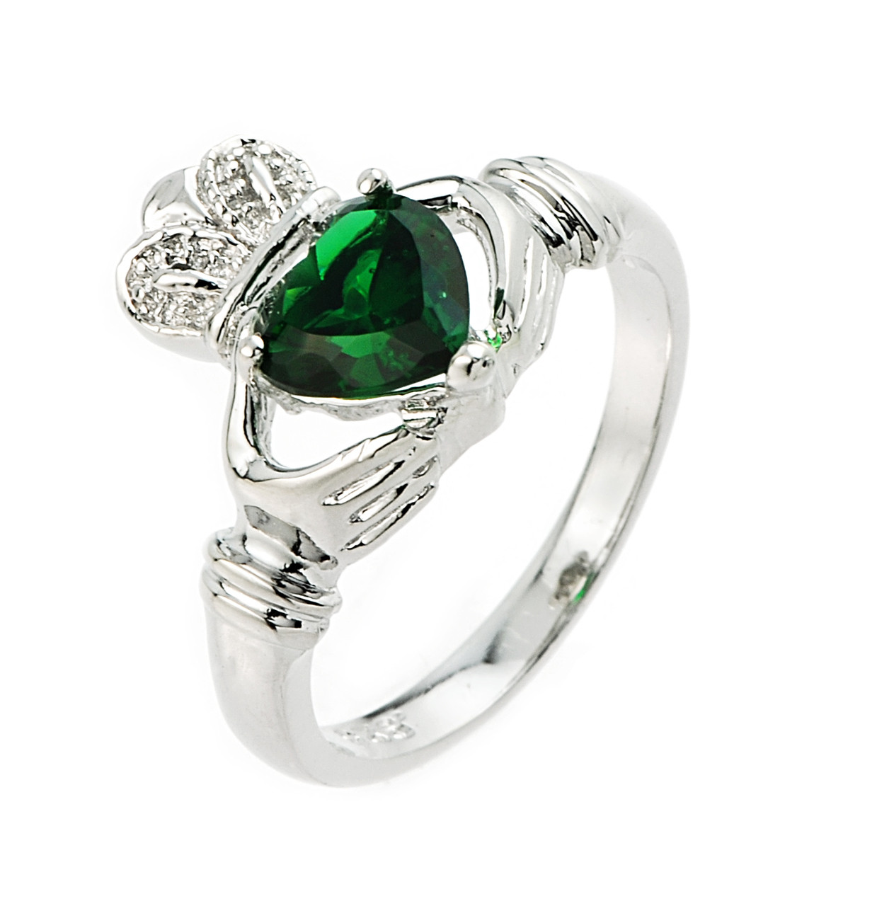 sterling silver emerald claddagh ring