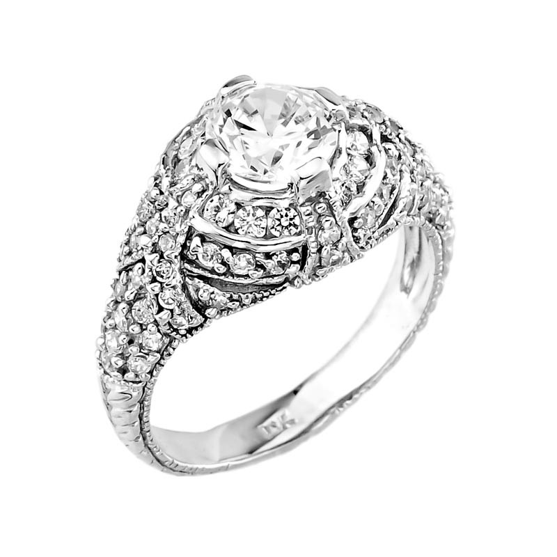 14k white gold cubic zirconia engagement ring factory