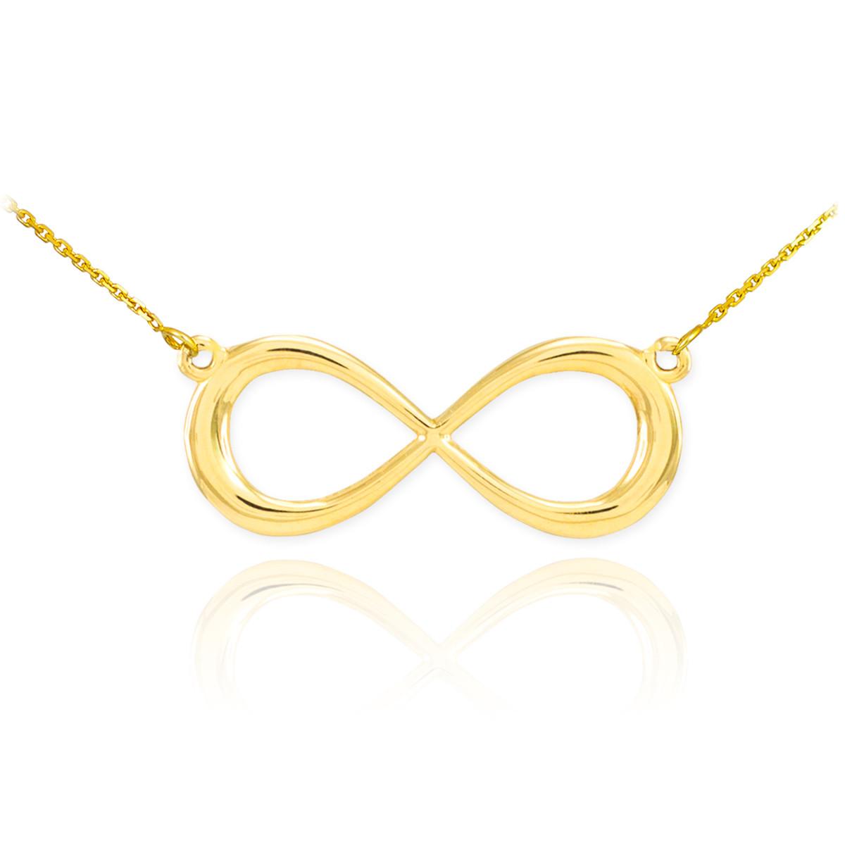 14k yellow gold fashion dainty infinity sign pendant