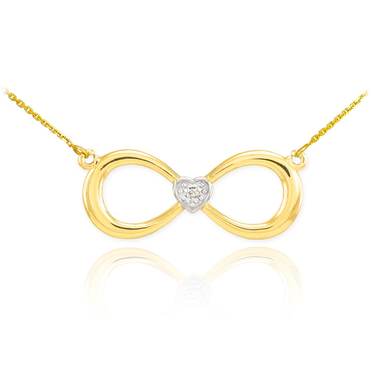14k yellow gold fashion dainty infinity sign diamond. Black Bedroom Furniture Sets. Home Design Ideas