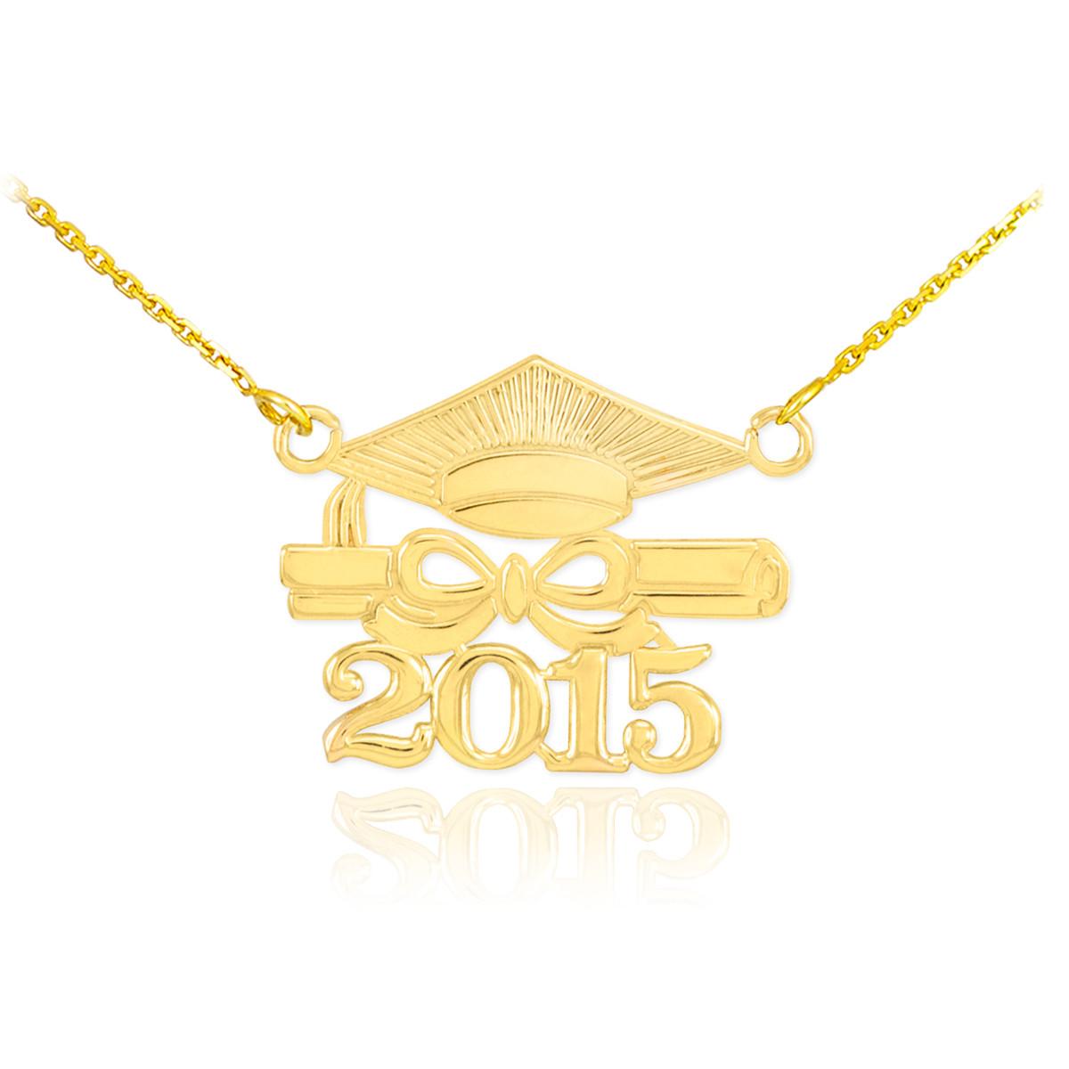 14k gold class of 2015 graduation mortar board pendant