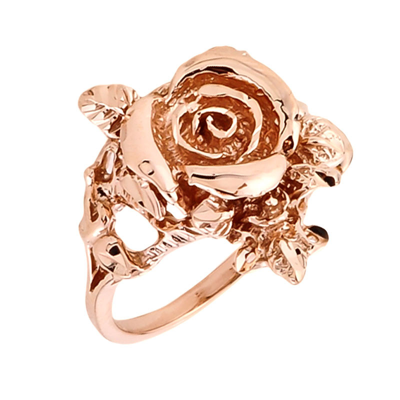 14k Rose Gold Handcrafted La s Rose Flower Design 1 9MM Band