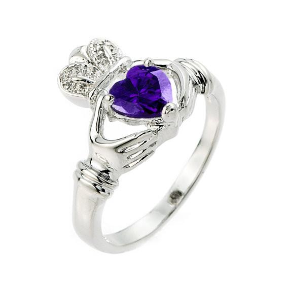 Claddagh Ring Amethyst Silver Celtic
