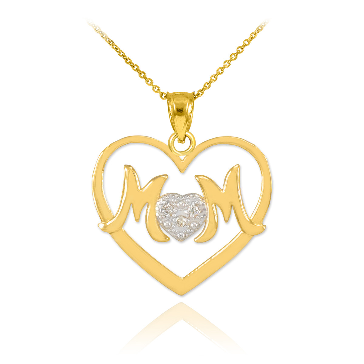 mother 39 s day gifts 14k white rose gold diamond heart love. Black Bedroom Furniture Sets. Home Design Ideas