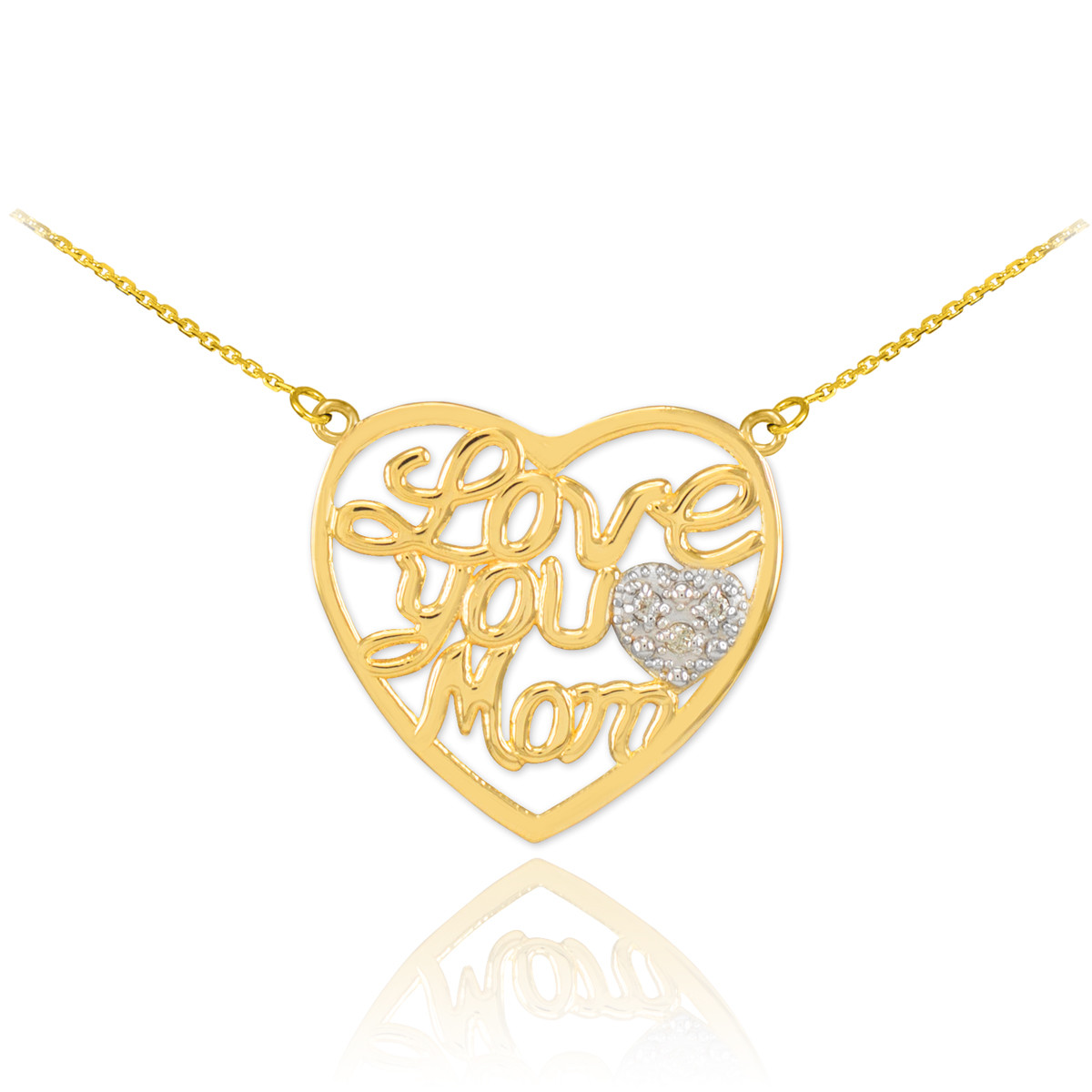 Love Gift Gold Heart Pendant Wallpaper : Mother s Day Gifts 14K Gold Diamond Pave Heart