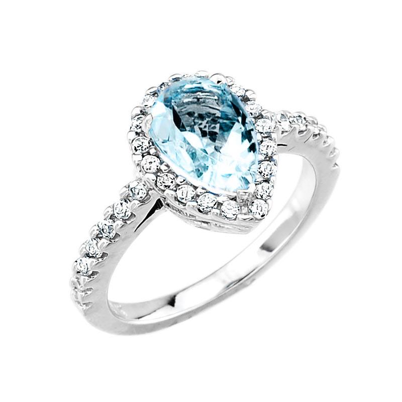 white gold aquamarine and engagement ring ebay